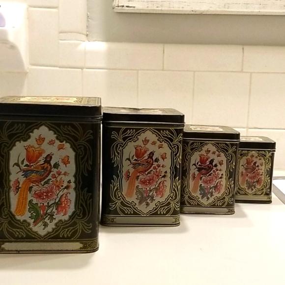Vintage black floral set of 4 nesting tins